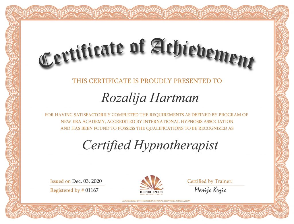 Certifikat za certificiranega hipnoterapevta